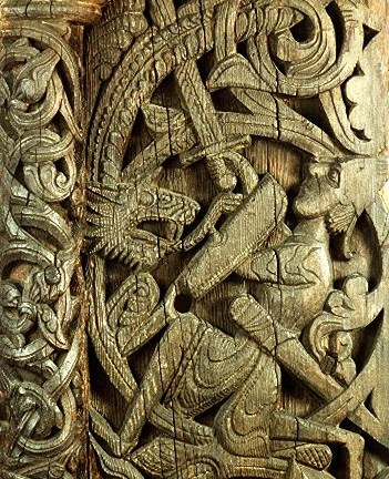 Sigurd killing the dragon Fafnir, wood carving from Hylestad stave