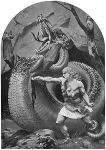 Sigurd slaying Fafnir, Old Norse Stories (1900), p. 274