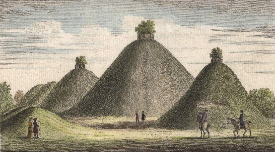 The Bartlow Burial Mounds, Cambridgeshire, England before being seriously damaged (Engraving)