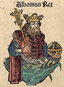 Woodcut vignette of Alboin in the 1493 Nuremberg Chronicles f 147 v 1