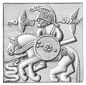 A plate from a Vendel era helmet featuring a figure riding a horse, holding a spear and shield, and confronted by a serpent. The rider is accompanied by two birds.