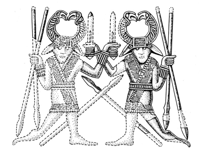 Fig. 84 Pair of Dancing Warriors from the Sutton Hoo helmet